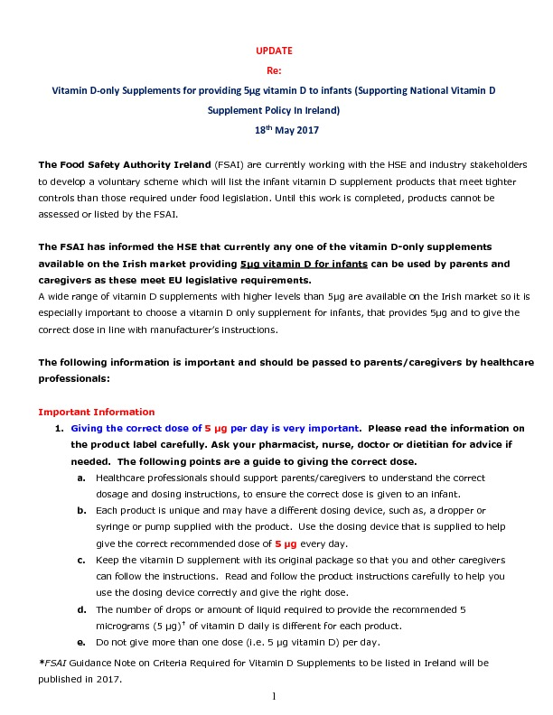ICHN – Update from FSAI re vitamin D supplements for Infants