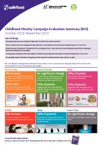 thumbnail of Childhood Obesity campaign 2013 – 2016 evaluation summary ROI