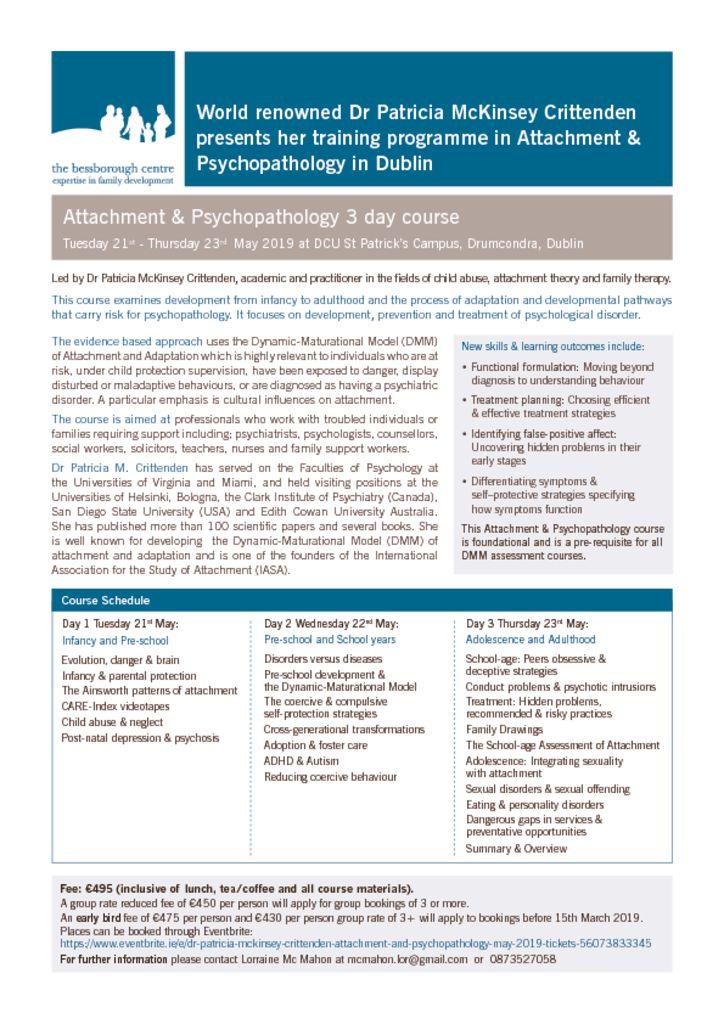 ICHN – Dr Patricia McKinsey Crittenden training in