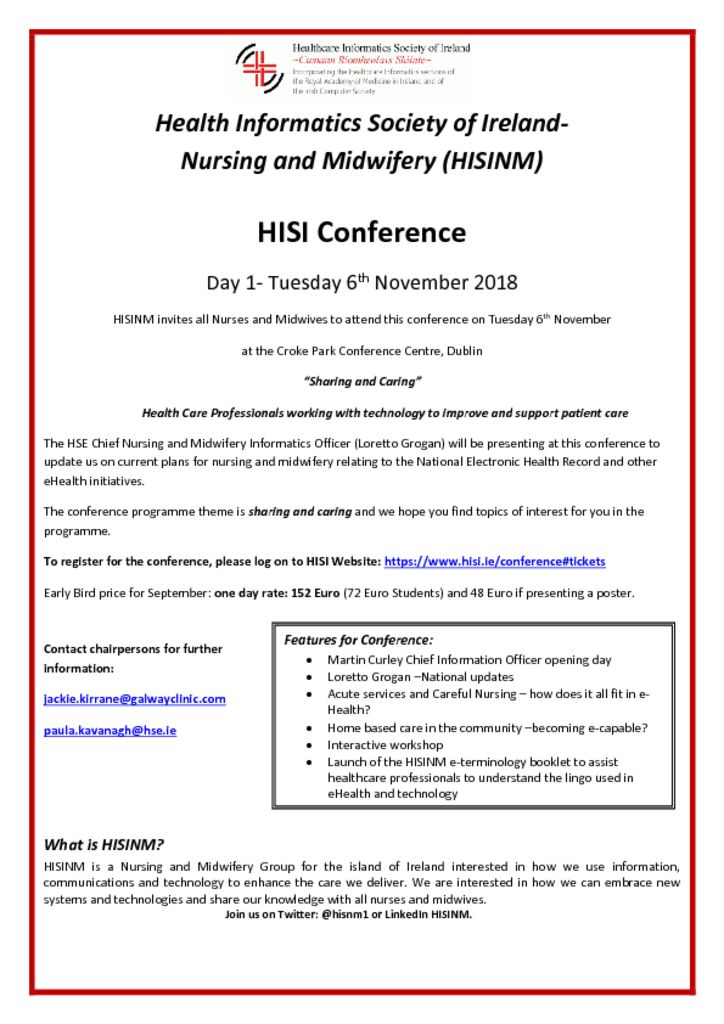 thumbnail of HISINM Keep the Date 6th November 2018 HISINM Conference