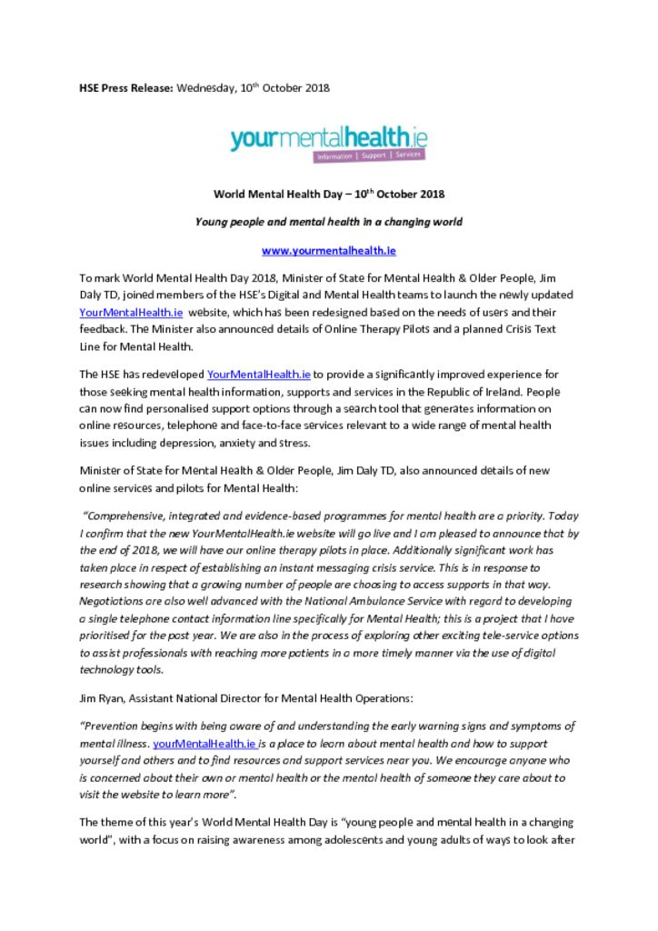 thumbnail of HSE Press Release WMHD 2018 09 10 18