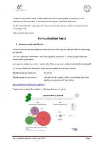 thumbnail of Immunisation Facts
