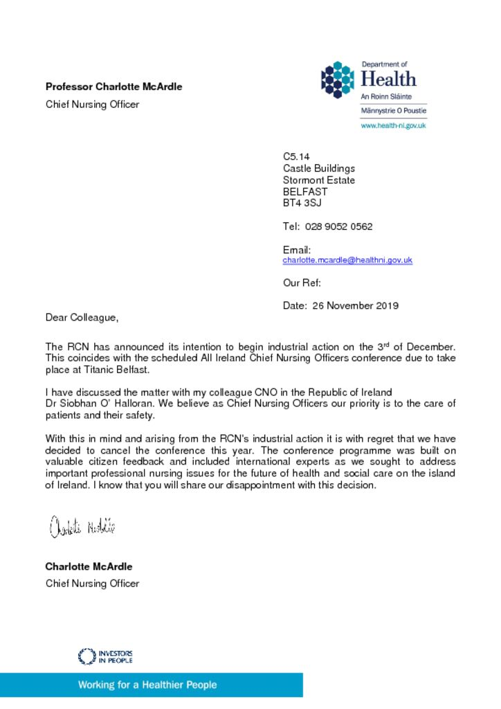 thumbnail of Letter re Cancellation of the CNO Conference on 3rd of December 2019 due to RCN Industral action
