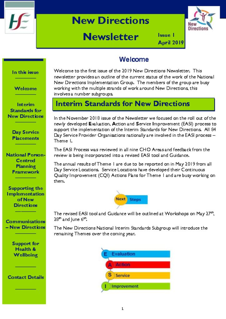 thumbnail of New Directions Newsletter – Issue 1 2019