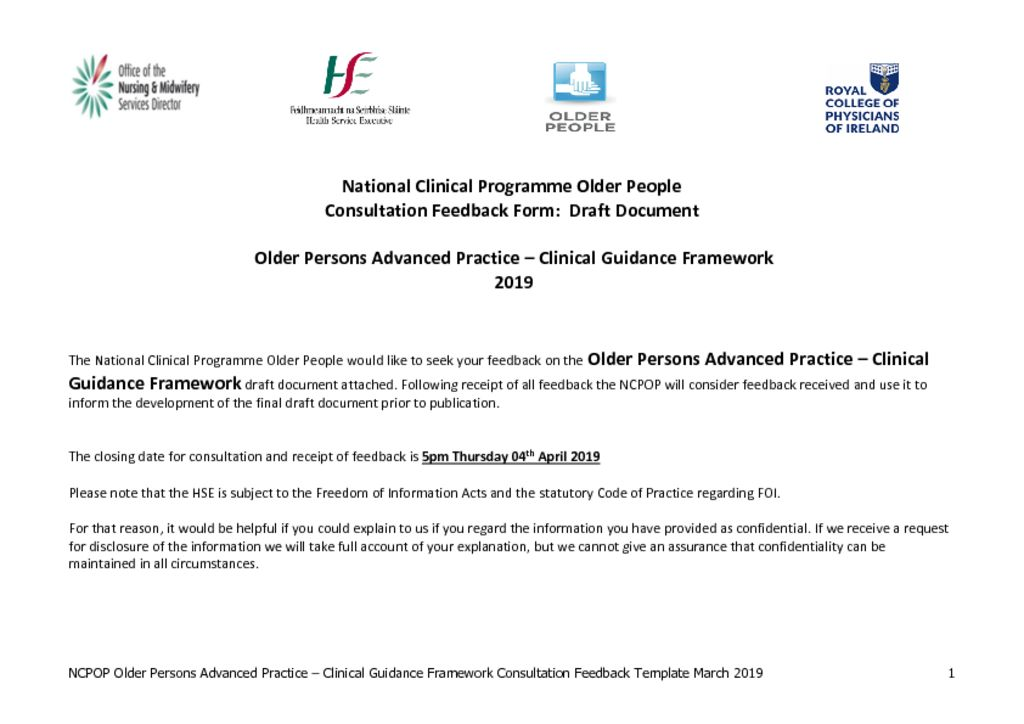 thumbnail of Older Persons Advanced Practice- Clinical Guidance Framework Feedback Template – issued