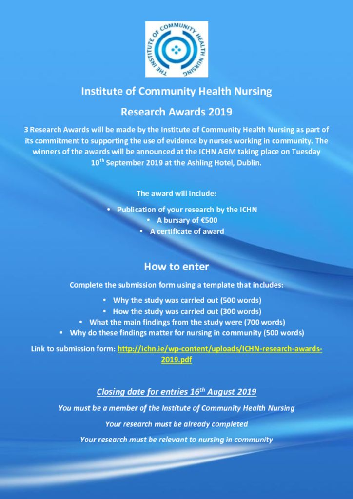 thumbnail of Research Awards 2019 Institute of Community Health Nursing