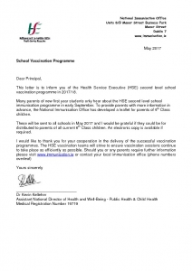 thumbnail of letter to principals re 6th class leaflet 030417